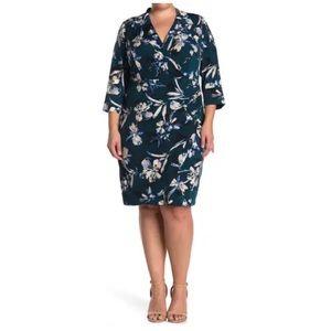 NEW Eliza J V-Neck Floral Printed Sheath Dress